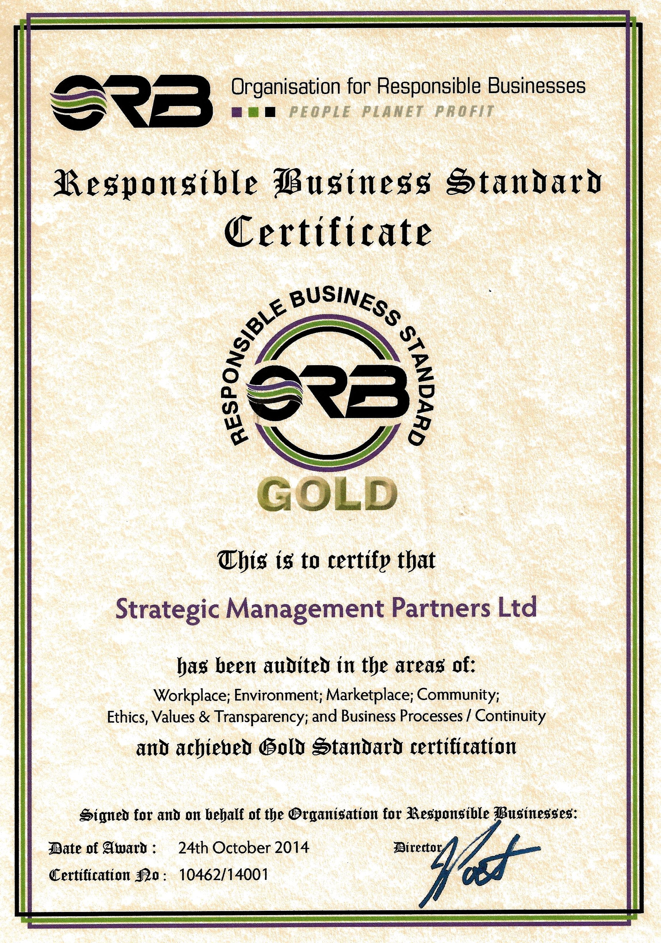 Responsible business standards strategic management partners 2014 orb smp certificate 1betcityfo Image collections